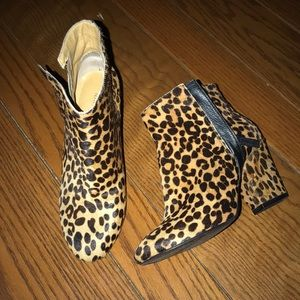 Nine West cheetah bootie heels